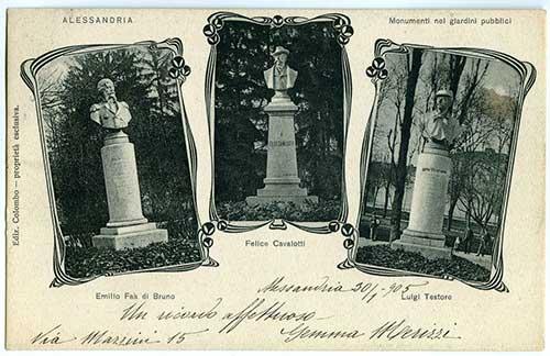 Tre-statue-nei-Giardini---Faà-di-Bruno---Felice-Cavallotti---Luigi-Testore