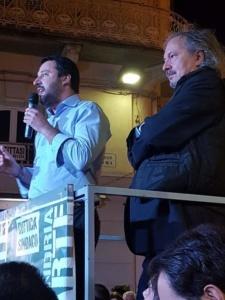 """Centro destra unito in piazzetta della Lega a sostegno di Cuttica di Revigliasco. Salvini: """"Prima liberiamo Alessandria, poi l'Italia"""" CorriereAl"""